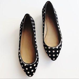 Talbots • Black & White Calf Hair Polka Dot Flats